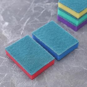 """Набор губок бытовых с чистящим слоем 10×7×2.5 см """"Супер"""", 5 шт - фото 1716980"""