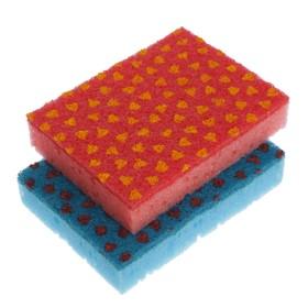 Набор губок бытовых с чистящим слоем 12.5×8×2.5 см, 2 шт, цвет МИКС