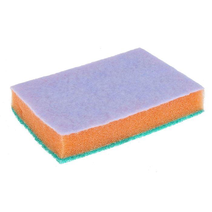 """Губка бытовая с чистящим слоем 12,5×9×2,5 см """"Эффект"""", цвет МИКС"""