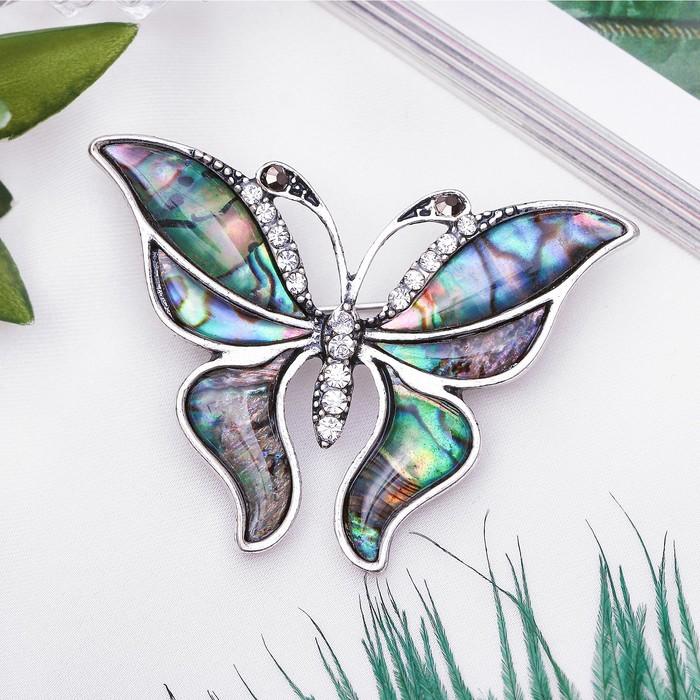 """Брошь """"Галиотис"""" бабочка летящая, цвет зелёный - фото 329121096"""