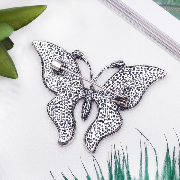 """Брошь """"Галиотис"""" бабочка летящая, цвет зелёный - фото 329121098"""