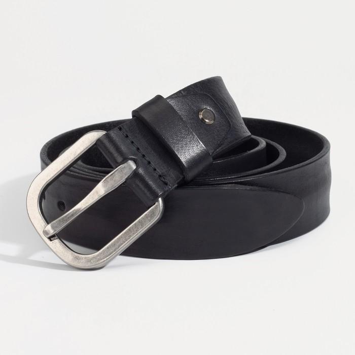 Ремень мужской, ширина 4 см, винт, пряжка металл, цвет чёрный - фото 774250