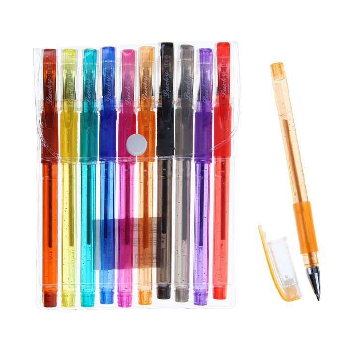 Набор гелевых ручек, 10 цветов металлик, с блёстками, с резиновыми держателями - фото 366927599