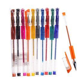 Набор гелевых ручек, 10 цветов, металлик, с блёстками, с резиновым держателем