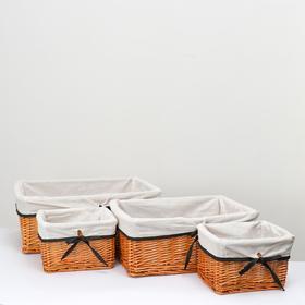Набор плетеных корзин,4 шт, L:47х33х18H см,2S:22х17.5х14H, ива