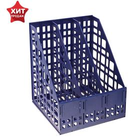 Paper tray prefabricated, vertical, 3 compartments, blue.