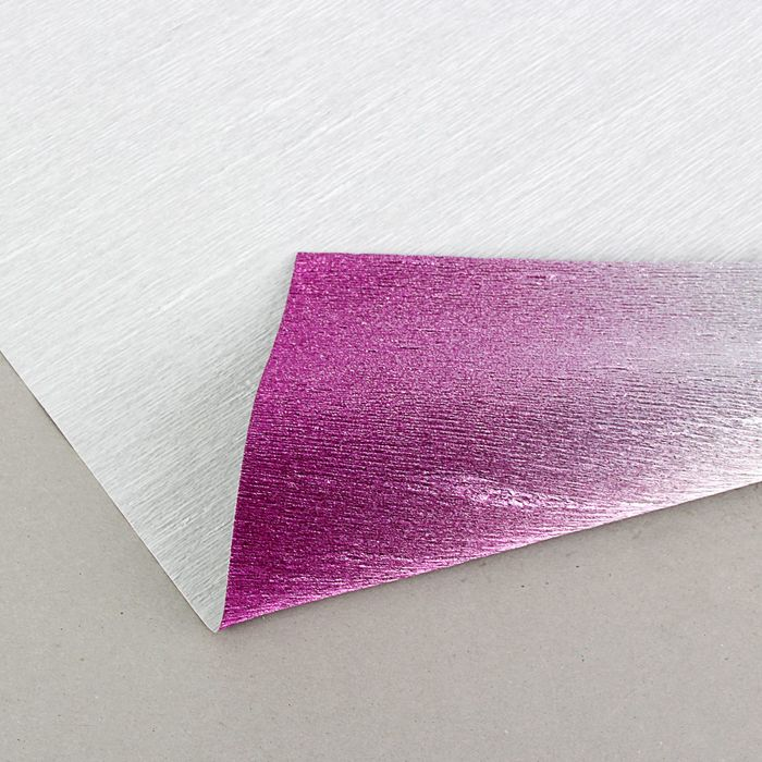 "Бумага гофрированная, 802/1 ""Серебро-фуксия металл"", 0,5 х 2,5 м"
