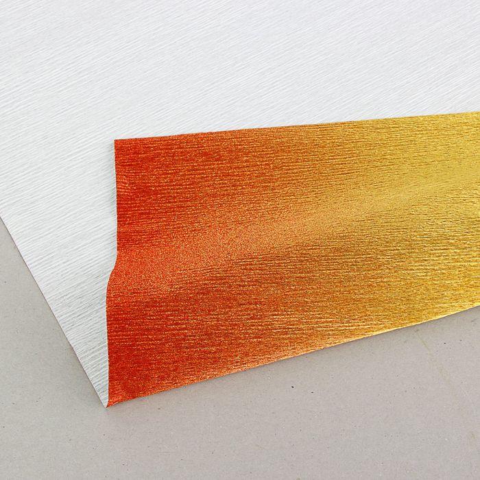 """Бумага гофрированная, 801/1 """"Золотисто-красный, металл"""", 0,5 х 2,5 м"""