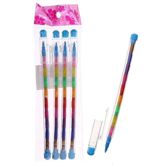 Набор цветных карандашей секционных 4 штуки со сменными грифелями 10 цветов