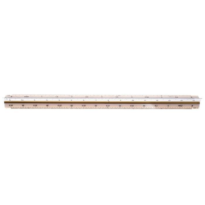 Линейка пластиковая, 30 см, треугольная, в пластиковом футляре - фото 447564336