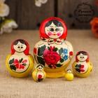 Матрёшка «Семёновская», красный платок, 5 кукольная, 7 см