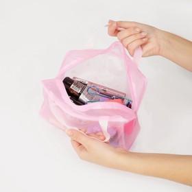 Косметичка ПВХ, отдел на молнии, 2 ручки, цвет розовый - фото 1769961
