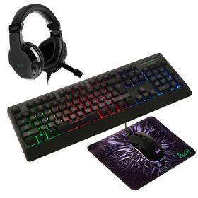 Игровой набор Smartbuy RUSH Kraken 4 в 1, клавиатура+мышь+гарнитура+ковер, проводной, 6400 d