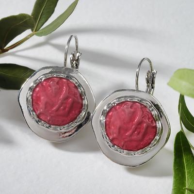 "Earrings ""avant-garde"" circle, color red silver"