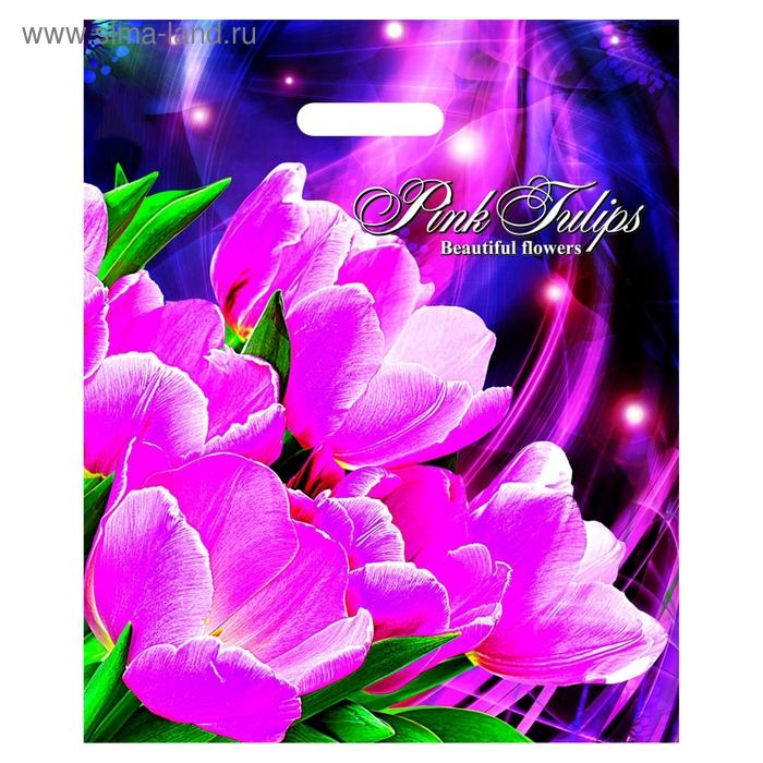 """Пакет """"Розовые тюльпаны"""" полиэтиленовый, с вырубной ручкой, 38х45 см, 60 мкм"""