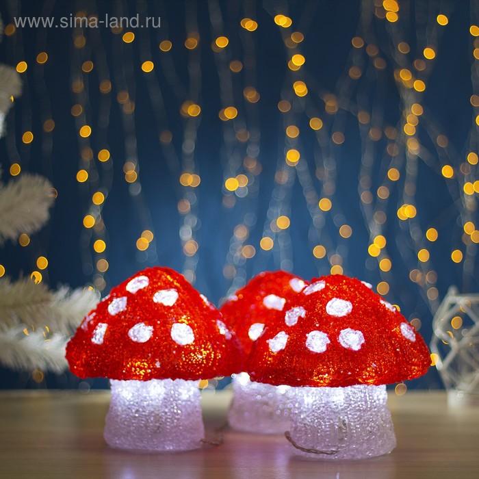 "Фигура акрил. ""Три гриба"" 16х15см, 20 LED, 240V БЕЛЫЙ"