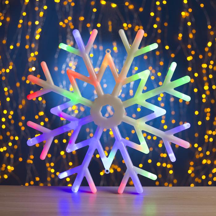 "Фигура ""Снежинка"" d=40 см, пластик, 30 LED, 220V, контрол. 8р. МУЛЬТИ - фото 725194381"