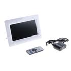 Цифровая фоторамка, SD, USB, поддер. форм. JPEG, MP3, MP4, AVI (пульт в комплекте), белая