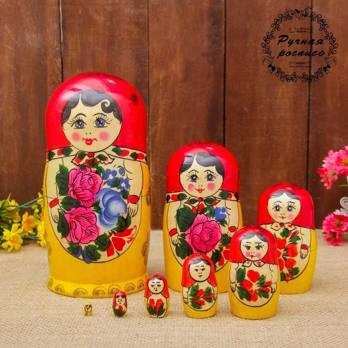 Матрёшка «Розочка», красный платок, 8 кукольная, 19 см