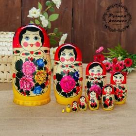 Матрёшка «Семёновская», красный платок, 10 кукольная, 22-24 см