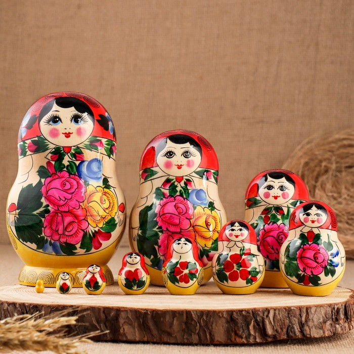 Матрёшка «Семёновская», красный платок, 10 кукольная, 16 см - фото 797599155