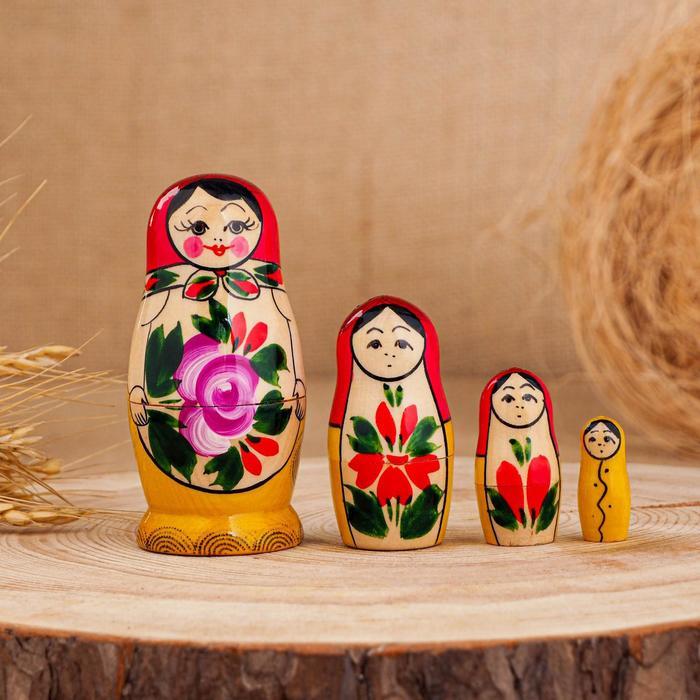 Матрёшка «Семёновская», красный платок, 4 кукольная, 9 см, ручная работа