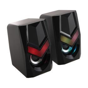 Компьютерные колонки 2.0 Defender Solar 1, 2х3 Вт, подсветка, USB, чёрные Ош