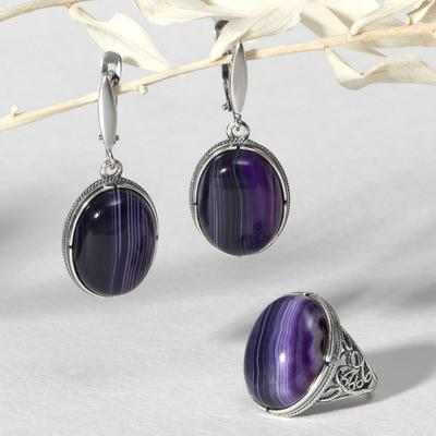"""Set of 2 items: earrings, silver-plated ring, classic """"agate purple"""", size 18"""