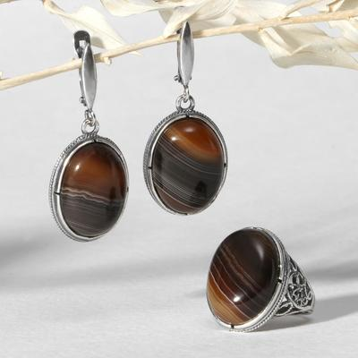 """Set of 2 items: earrings, silver-plated ring, classic """"agate brown"""", 18-18, 5 size"""