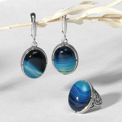 """Set of 2 items: earrings, silver-plated ring, classic """"agate blue"""", 18-18, 5 size"""