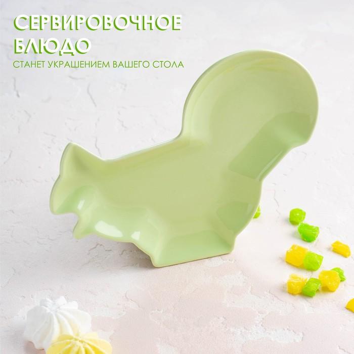 Блюдо сервировочное Доляна «Милашки. Белочка», 18×14×1,6 см, цвет зелёный - фото 670647