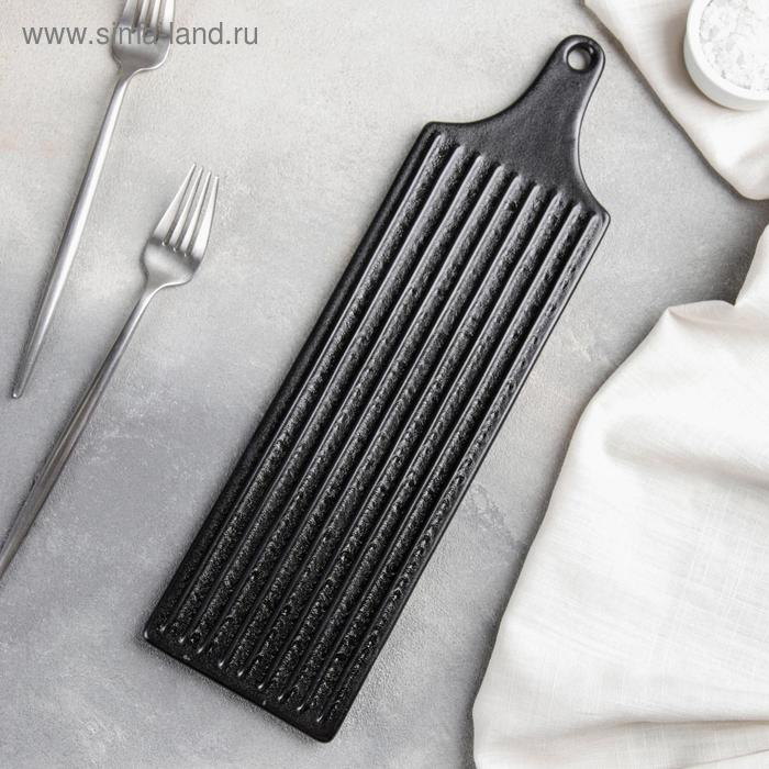 """Dish for serving """"grill"""" 10, 2x36x1, 2 cm, color black"""