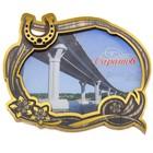 Магнит с золотым тиснением «Саратов. Саратовский мост»