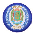 """Textile magnet with embroidered """"YUGRA. Coat of arms"""""""