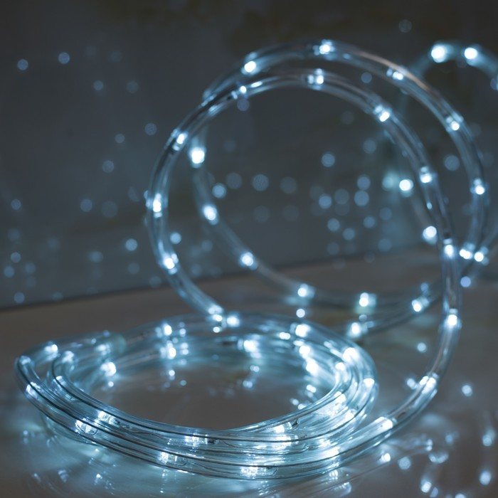 LED шнур 13 мм, круглый, 5 м, чейзинг, LED-24-220V, с контролл. 8р, белый