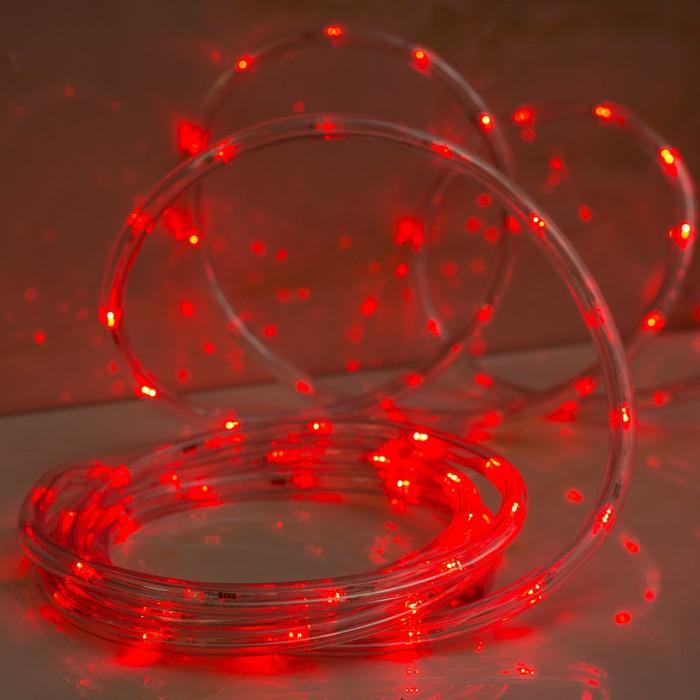 LED шнур 13 мм, круглый, 5 м, чейзинг, 2W-LED-24-220V, с контролл. 8р, красный