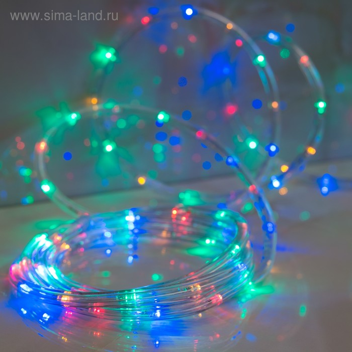 LED шнур 13 мм, круглый, 5 м, чейзинг, LED/м-24-220V, с контролл. 8р, мульти