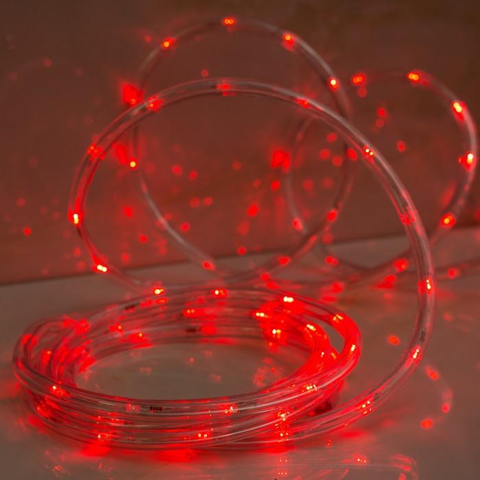 LED шнур 13 мм, круглый, 10 м, чейзинг, 2W-LED/м-24-220V, с контролл. 8р, красный