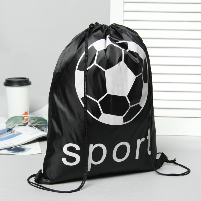 """Мешок для обуви на стяжке шнурком """"Sport"""", 1 отдел, черный"""