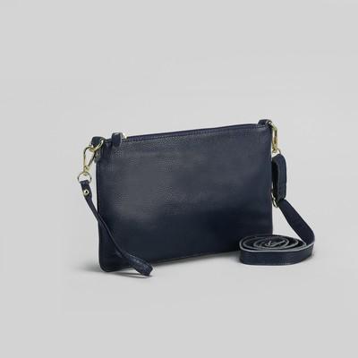Клатч женский, 1 отдел, наружный карман, с ручкой, регулируемый ремень, цвет тёмно-синий
