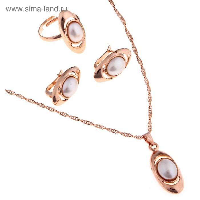 """Гарнитур 3 предмета: серьги, кулон, кольцо безраз-ое """"Эдель"""" овал с жемчугом в золоте"""