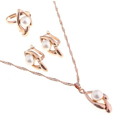 """Гарнитур 3 предмета: серьги, кулон, кольцо безразмерное """"Эдель"""" с жемчугом овал вытянутый"""