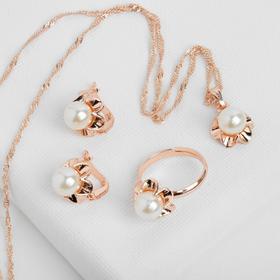 """Гарнитур 3 предмета: серьги, кулон, кольцо безразмерное """"Эдель"""" с жемчугом цветок, цвет белый в золоте, 45см в Донецке"""