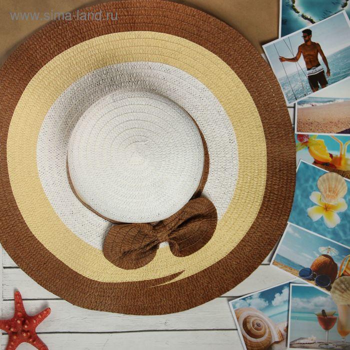 """Шляпка женская """"Эсмеральда"""", цвет бело-коричневый, обхват головы 58 см, ширина полей 14 см"""