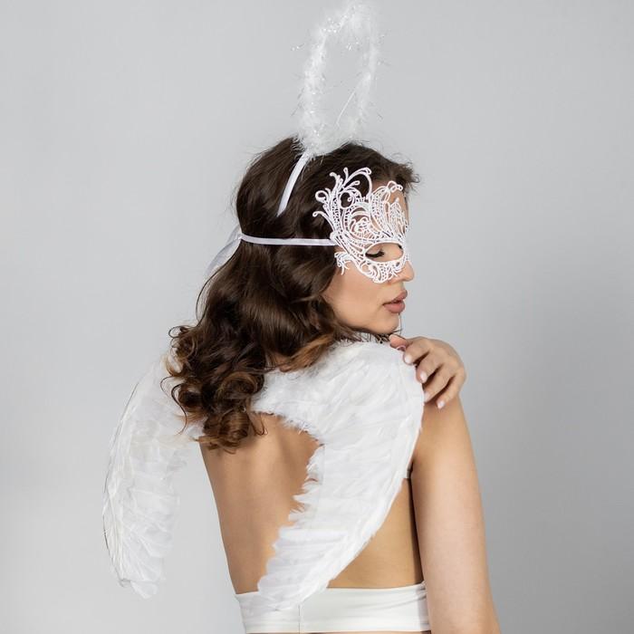 Карнавальный набор «Белый ангел» крылья, маска, ободок - фото 7699870
