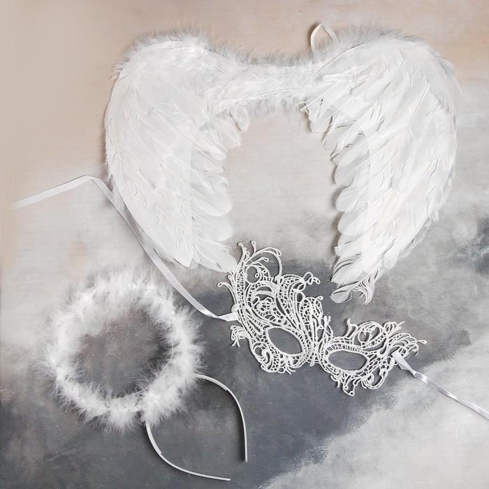 Карнавальный набор «Белый ангел» крылья, маска, ободок - фото 7699871