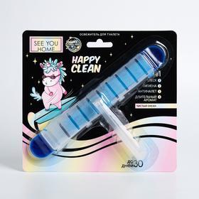 Освежитель для туалета 4в1 Happy clean, чистый океан