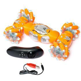 Машинка-перевёртыш HYPER с управлением жестами гиропульт, работает от аккумулятора, цвет оранжевый
