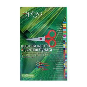 Набор для детского творчества А4, 14 листов картон цветной двухсторонний + 16 листов бумага цветная двухсторонняя