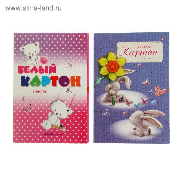Картон белый А4, 7 листов, Disney, 200г/м2, 4 вида МИКС